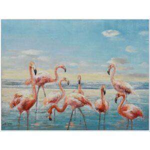 Flamingoes On Beach Framed Canvas Print Wall Art