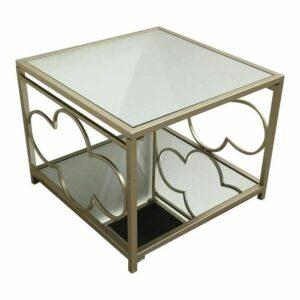 Julie Vintage Champagne Metal & Mirror Side Coffee Tables