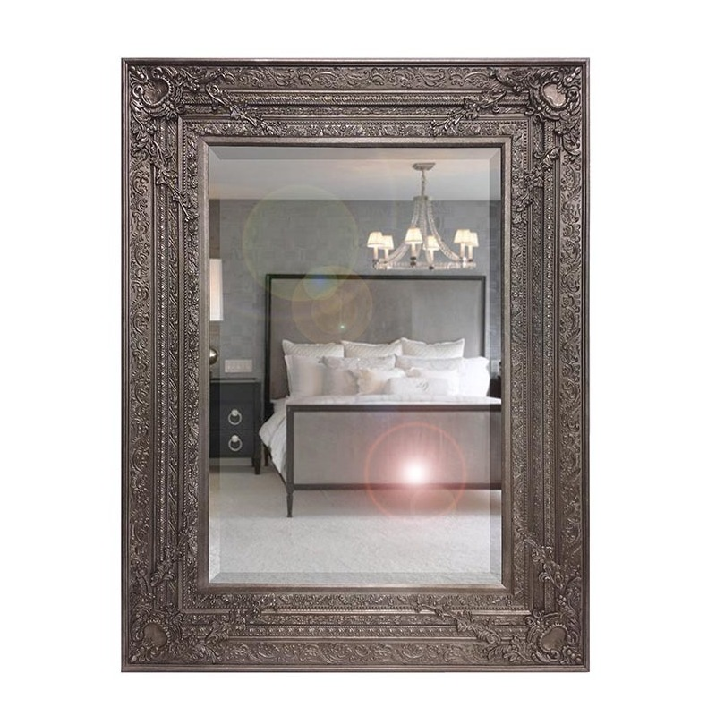 Large Antique Silver Ornate Rectangle Wall Hanging Mirror