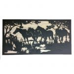 Large Black Horses Laser Cut Metal Wall Art
