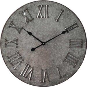 Large Galvanised Metal Roman Outdoor Wall Clock