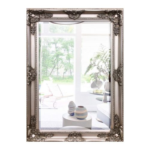 Large Silver French Ornate Rectangle Wall Hanging Mirror