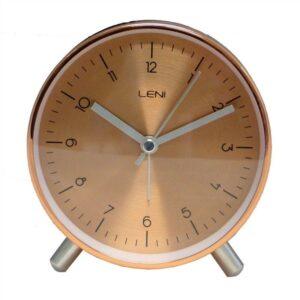 Modern Copper Metal Leni Table Alarm Clock