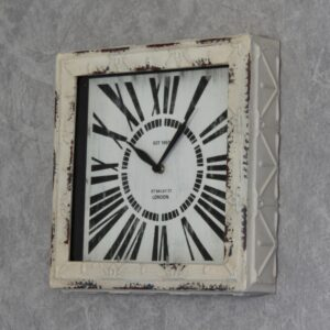 Modern Distressed White Square Metal Wall Clock