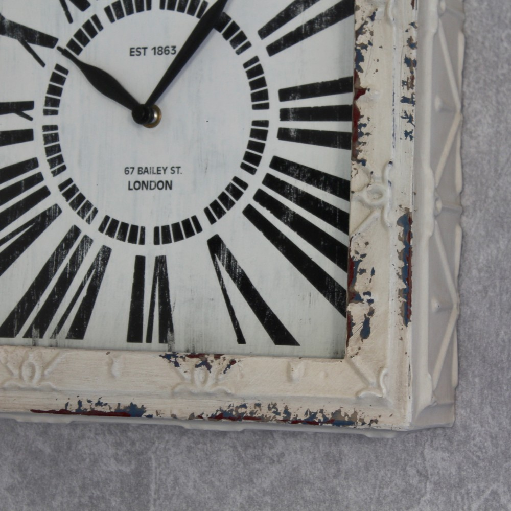 Modern Distressed White Square Metal Wall Clock 30cm Dalisay