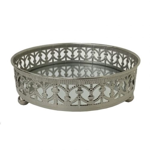 Moroccan Round Silver Mirror Jewellery Serve Tray
