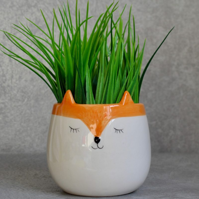 Orange and White Ceramic Fox Pot Planter
