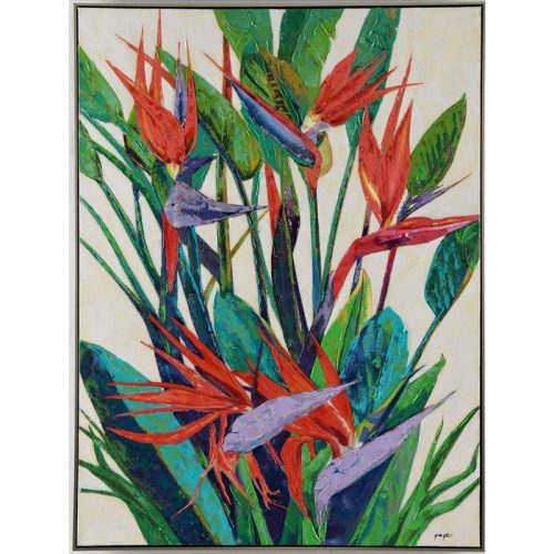 Paradise Birds Tropical Framed Canvas Wall Art