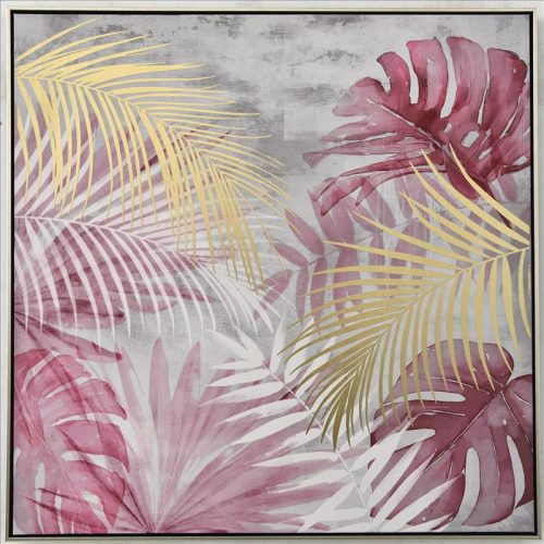 Pink Palm Leaves Framed Canvas Print Wall Art