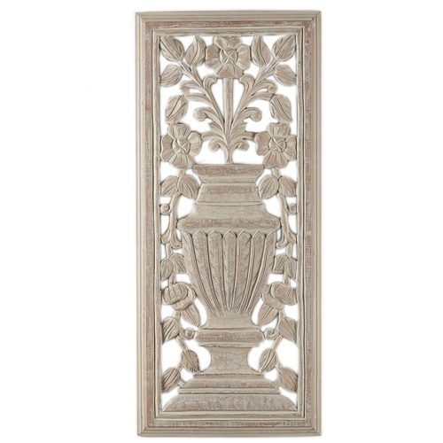 Rustic Wood Carved Vase Tuscan Wall Hanging Art Panel