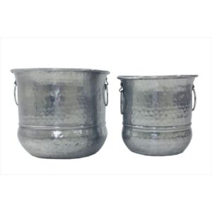 Set of 2 Hammered Silver Aluminium Pot Planters With Handles