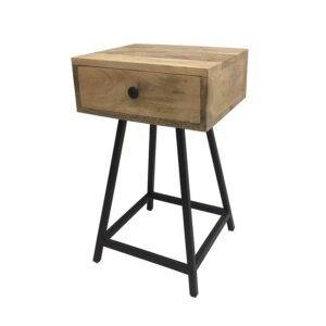 Set of 2 Iron Wood Aria Nightstand Drawer Bedside Table