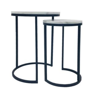 Set of 2 Round Marble Metal Side Coffee Tables