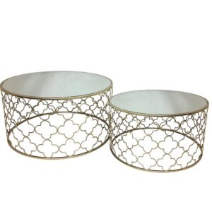 Set of 2 Round Metal & Mirror Coffee Tables