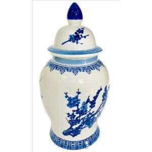 Tall Hamptons Blue And White Ceramic Temple Ginger Jar Vase
