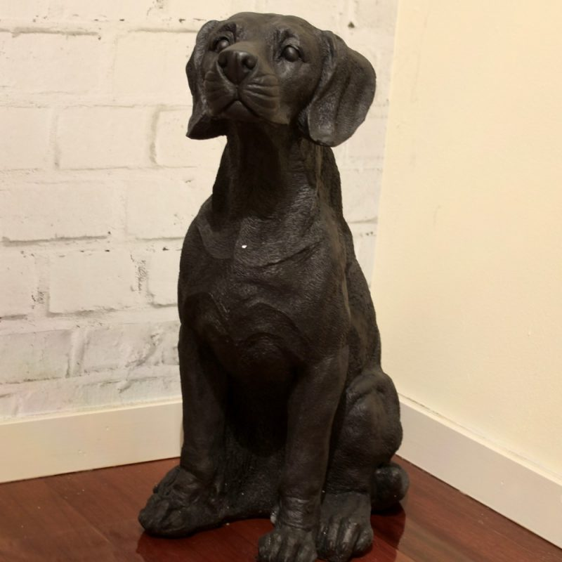 Tall Matt Black Dog Puppy Resin Statue Figurine