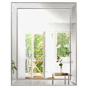 Traditional French Silver Frame Rectangle Wall Mirror