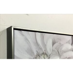 White Flowers Floral Framed Canvas Print Wall Art