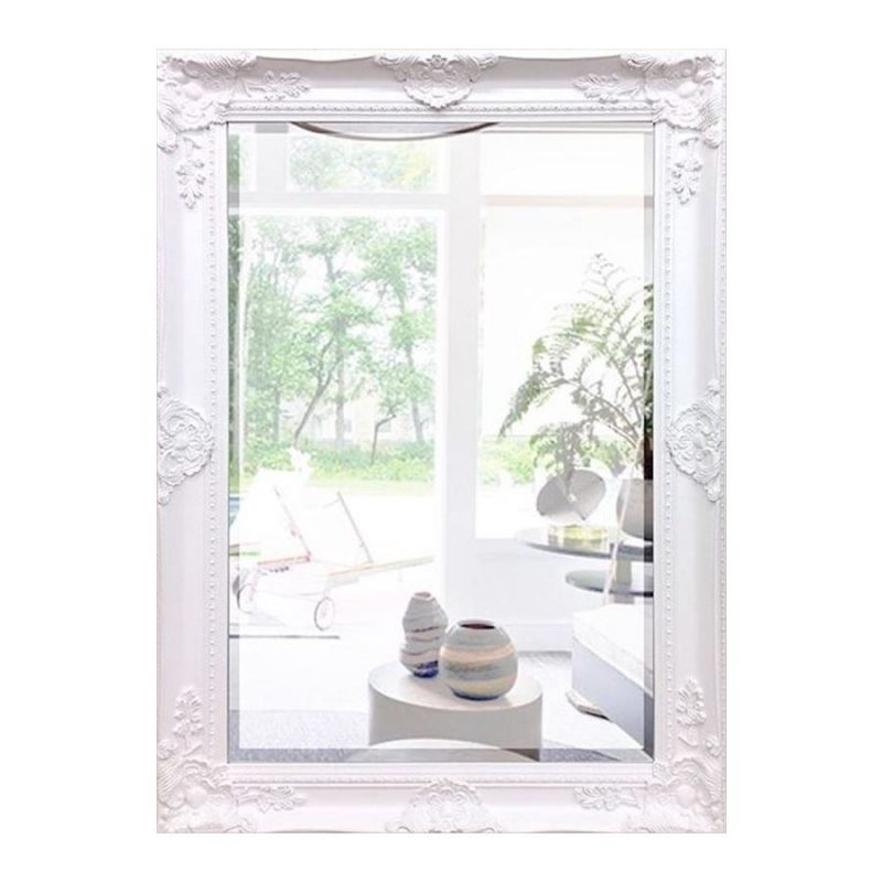 White French Country Ornate Rectangle Wall Hanging Mirror