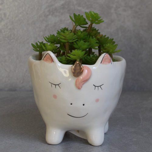 White Unicorn Pot Planter On Legs With Golden Horn