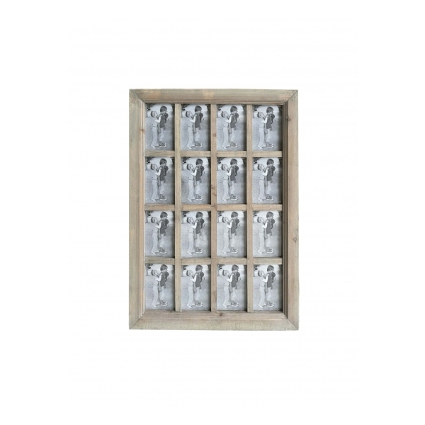16 In 1 Rustic Brown Multi Collage Photo Picture Frame