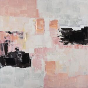Abstract Pink and Black Framed Canvas Print Wall Art