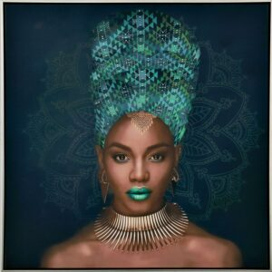 African Lady Green Artwork Framed Canvas Print Wall Art