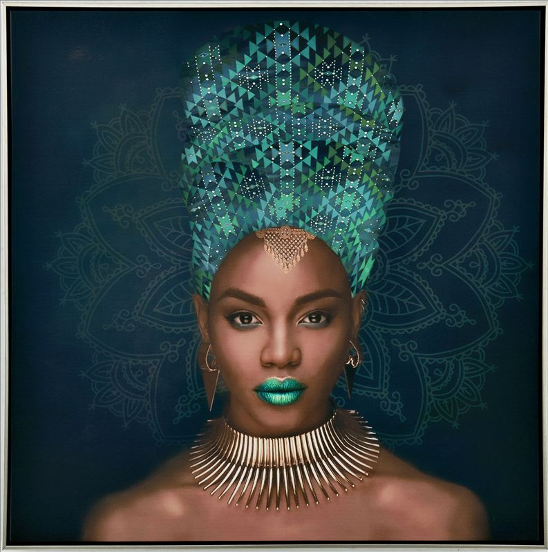 African Lady Green Artwork Framed Canvas Print Wall Art