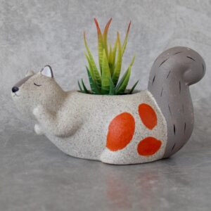 Beige and Orange Ceramic Sand Squirrel Pot Planter