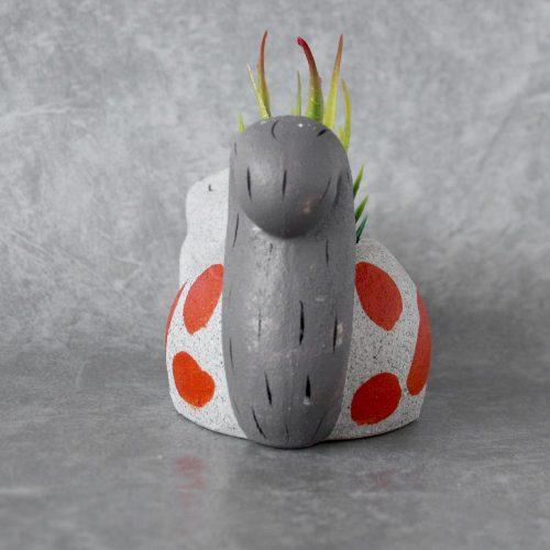 Beige and Orange Ceramic Sand Squirrel Pot Planter