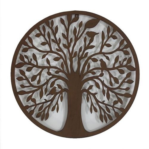 Birds On Tree of Life Round Rustic Metal Wall Art