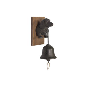 Black Metal Dog Puppy Doorbell With Wooden Base