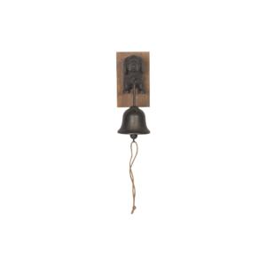Black Metal Dog Puppy Doorbell With Wooden Base