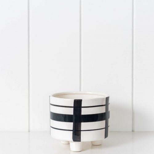 Black Strokes Geometric Ceramic Footed Pot Planter