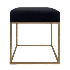 Black Velvet Seat Stool Ottoman Chair