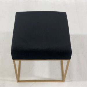 Black Velvet Seat Stool Ottoman Chair