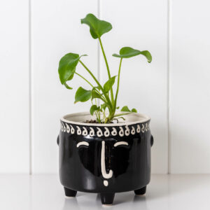 Black and White Ceramic Face Pot Planter On Legs