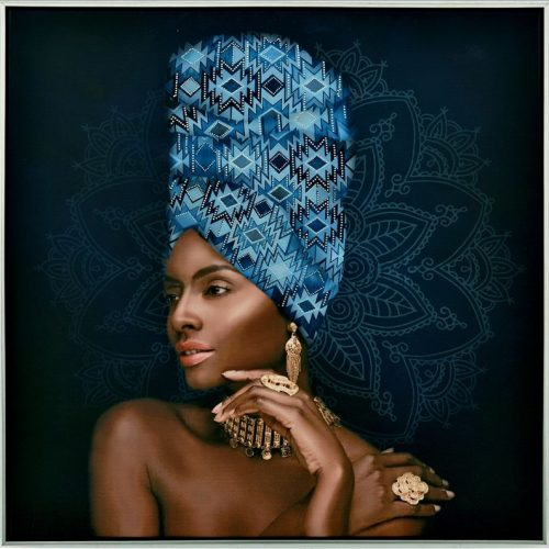 Blue African Artwork Lady Framed Canvas Print Wall Art