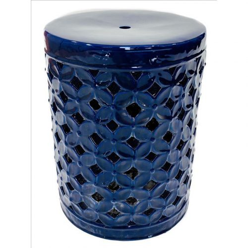 Blue Floral Pattern Ceramic Stool Side Table