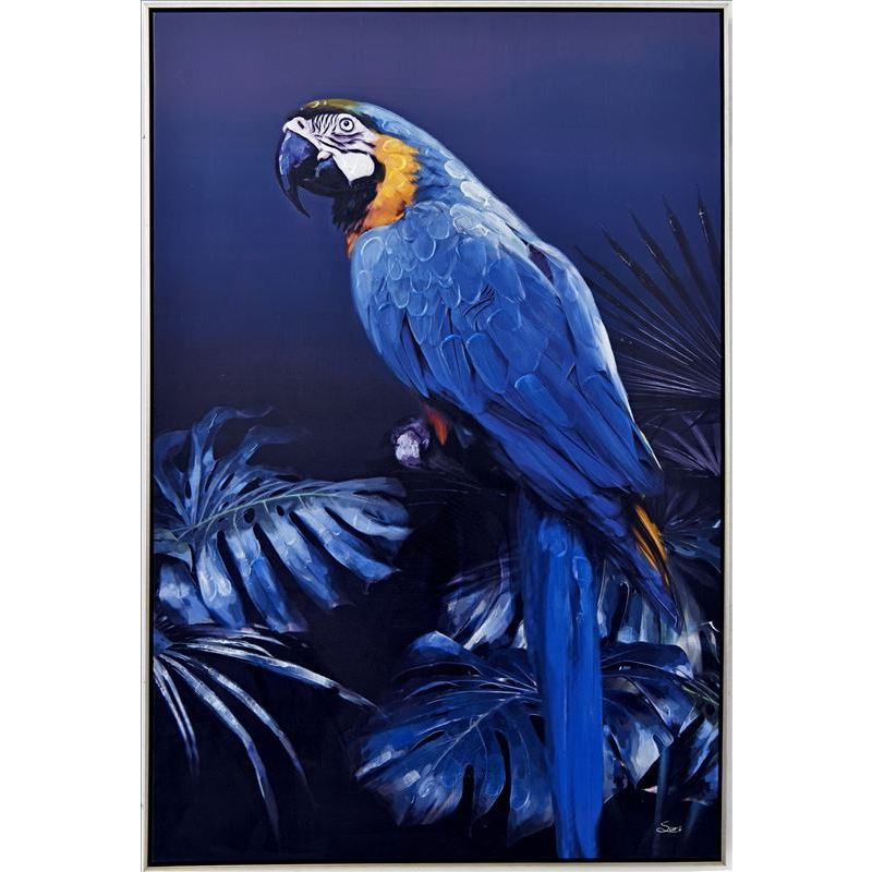 Blue Parrot Bird On Leaves Framed Canvas Print Wall Art