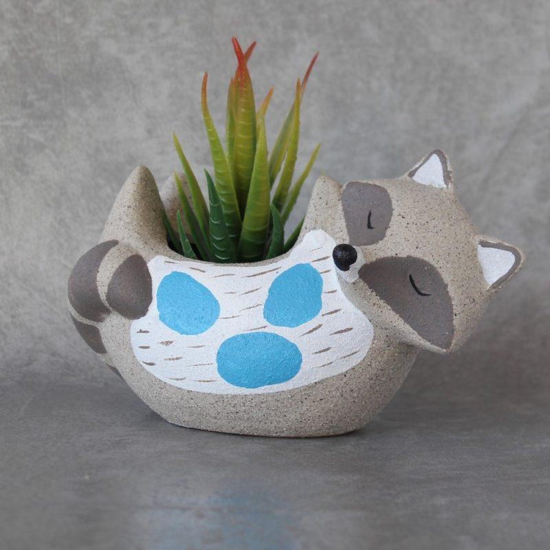 Blue and White Ceramic Sand Fox Pot Planter