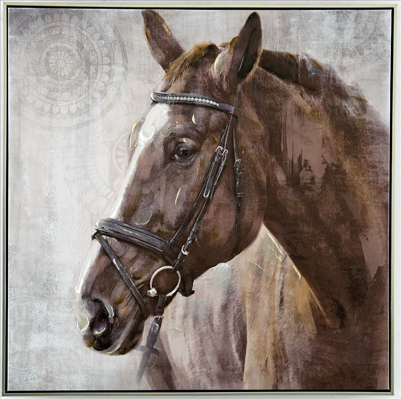Brown Country Horse Animal Framed Canvas Print Wall Art