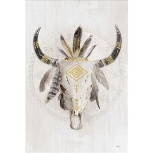 Cow Animal Skull With Feathers Framed Canvas Print Wall Art