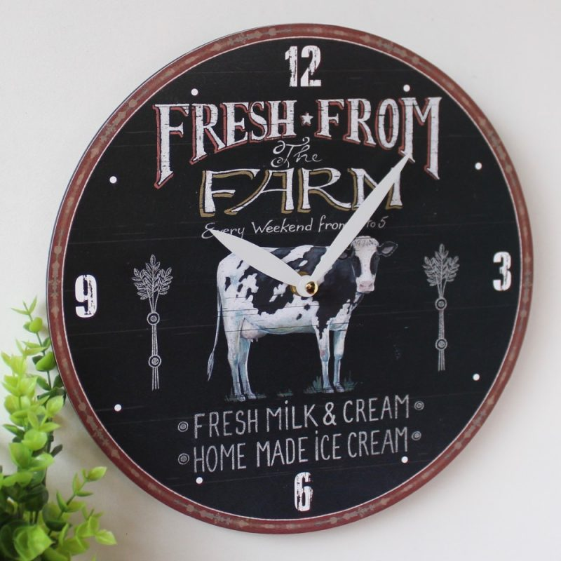 Cow Wall Clock - Country Farmhouse Style, Black
