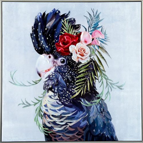 Floral Black Cockatoo Bird Face Framed Canvas Print Wall Art