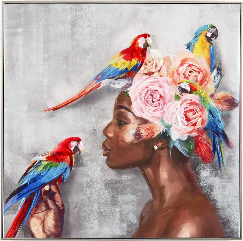 Floral Lady With Parrots Framed Canvas Print Wall Art