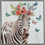 Floral Zebra Animal Framed Canvas Print Wall Art