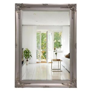 French Wall Mirror - Silver French Ornate Rectangle Wall Hanging
