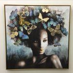 Girl With Butterflies Hat Framed Canvas Print Wall Art