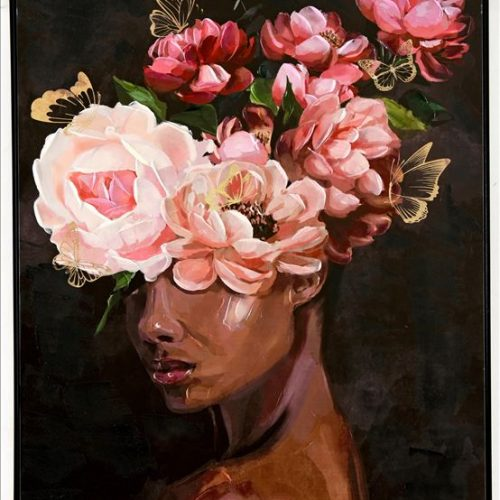 Girl With Floral Hat Framed Canvas Print Wall Art